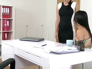 Femaleagent Big-boobed Agent Entices Timid Beauty In Steamy Lezzie Casting