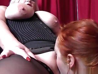 Buxom English Gilf Dyke Makes Youthfull Female Spunk With Her Tongue