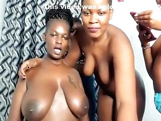 Group Of G/g Huge-titted Ebonies – Rubdown And Smooching