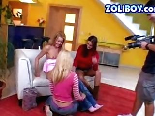 Three Lustful Bitches Fucking In A All Girl 3some Pornography Clip. Backtage View