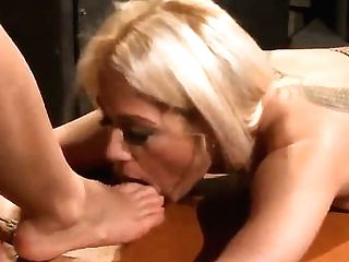 Sexy Blonde Chick Melon Got Tied Up On The Table By Her Lesbo Gf Nikky Thorne And Being Spanked By Her.