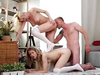Aurora Sky, Clockwork Victoria In Threesome Fuckfest With Bisex Teenagers