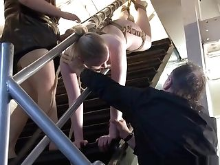 Blonde Restraint Bondage Honey Satine Sparks Lezzie Predominance And Stairway Tied