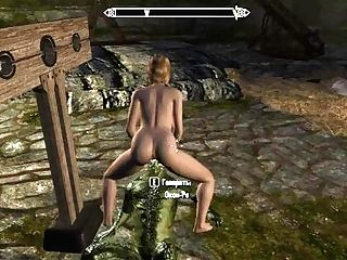 The Heroine Sucked The Lollipop Of The Argonian, And Then Let Herself Be Fucked  Skarim Porno
