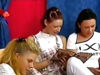 Sapphic Teenage Threesome, Blonde, Dark-haired, Ginger-haired